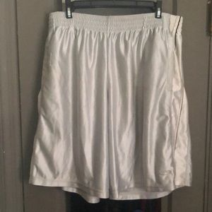 Silver and white basketball shorts